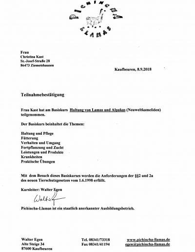 Zertifikat Alpakahaltung